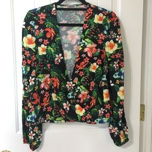 Chelsea28 Tropical Floral Long Sleeve Wrapped Top